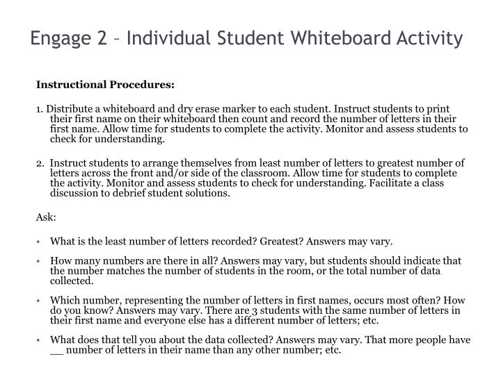 Engage 2 – Individual Student Whiteboard Activity