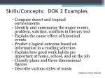 skills concepts dok 2 examples