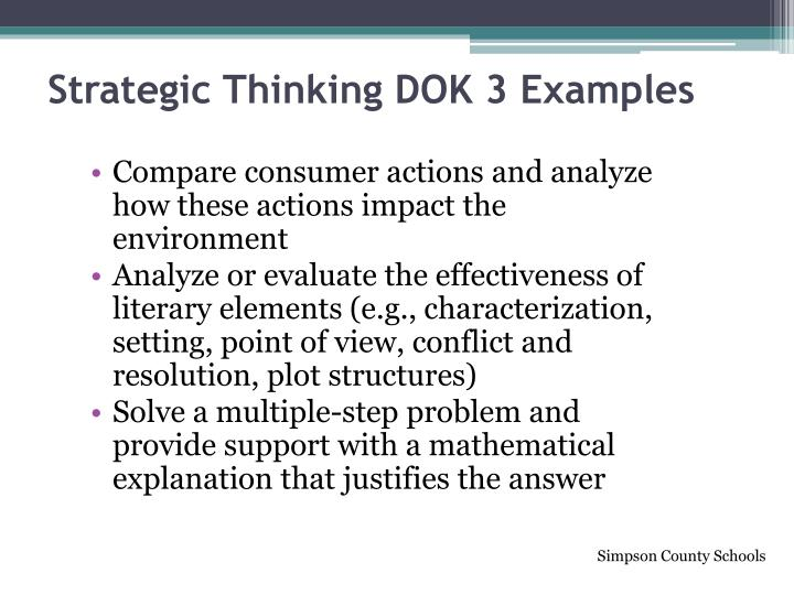 Strategic Thinking DOK 3 Examples