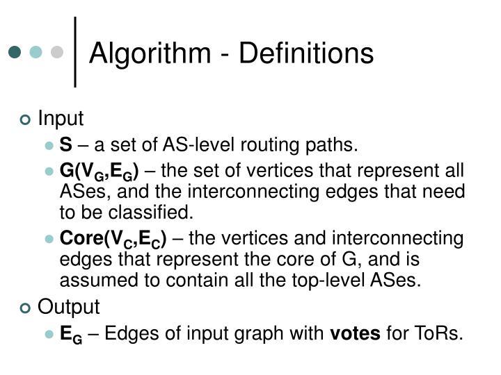 Algorithm - Definitions
