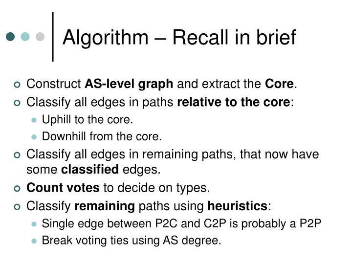 Algorithm – Recall in brief