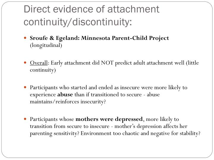Direct evidence of attachment continuity/discontinuity: