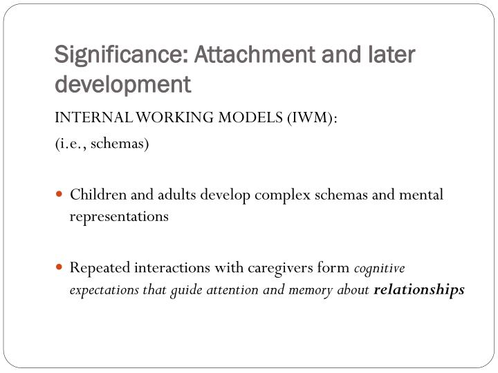 Significance: Attachment and later development