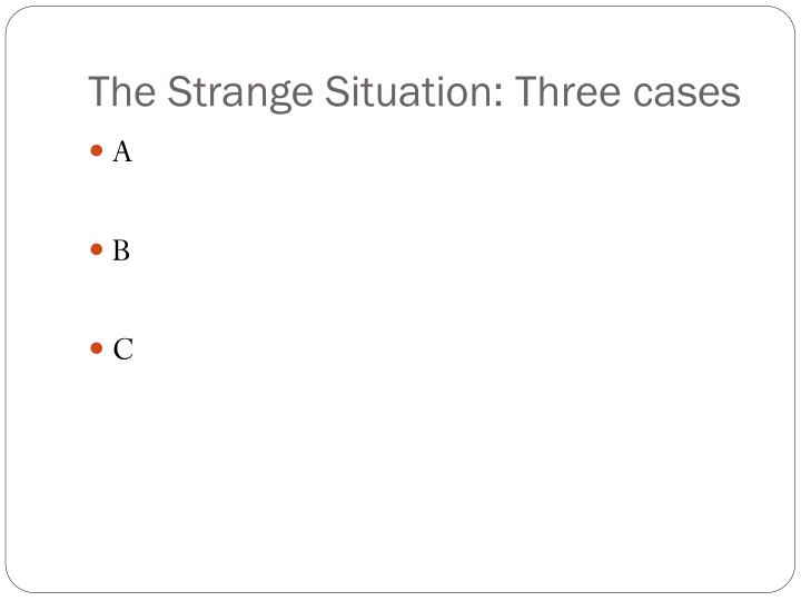 The Strange Situation: Three cases