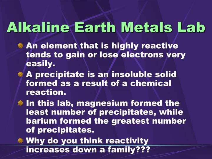 Alkaline Earth Metals Lab