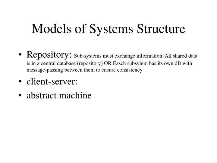 Models of Systems Structure