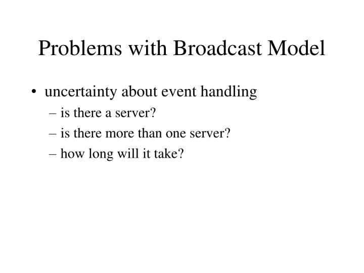Problems with Broadcast Model