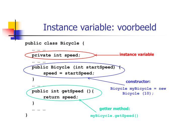 Instance variable: voorbeeld