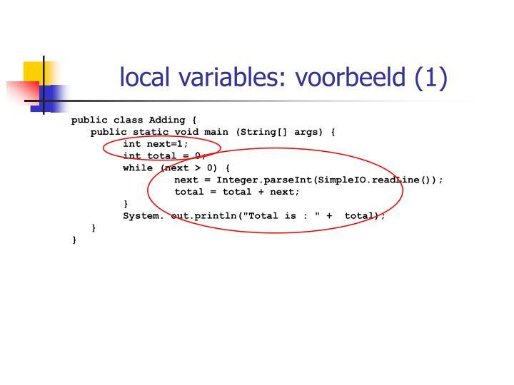 local variables: voorbeeld (1)