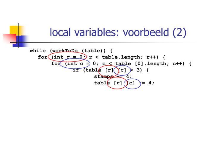 local variables: voorbeeld (2)
