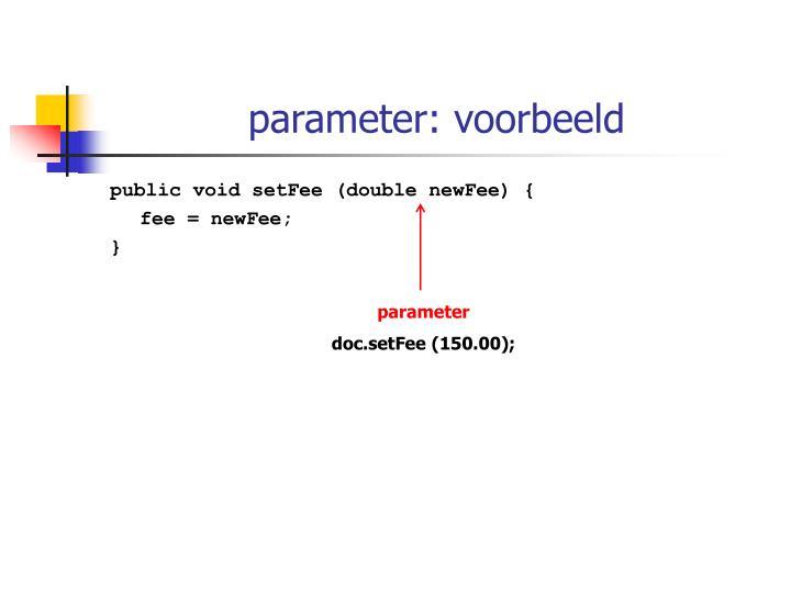 parameter: voorbeeld