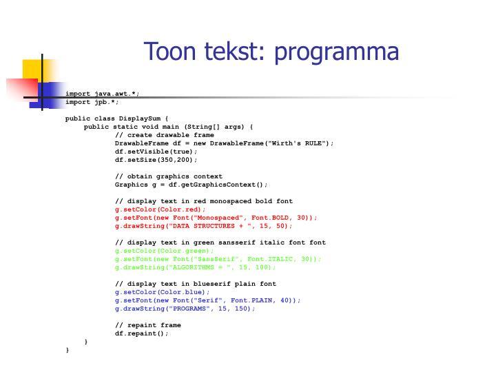 Toon tekst: programma