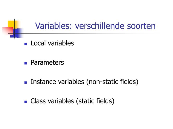 Variables: verschillende soorten