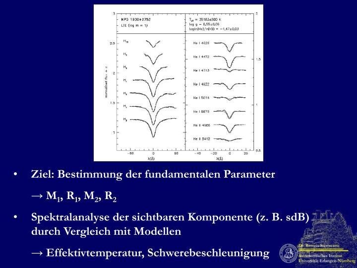 Ziel: Bestimmung der fundamentalen Parameter
