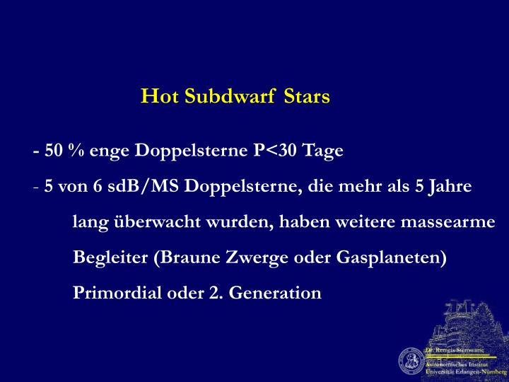 Hot Subdwarf Stars