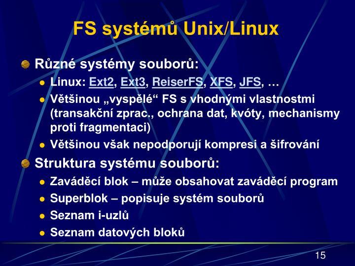 FS systémů Unix