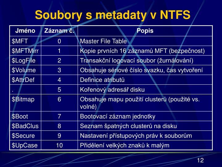 Soubory s metadaty v NTFS
