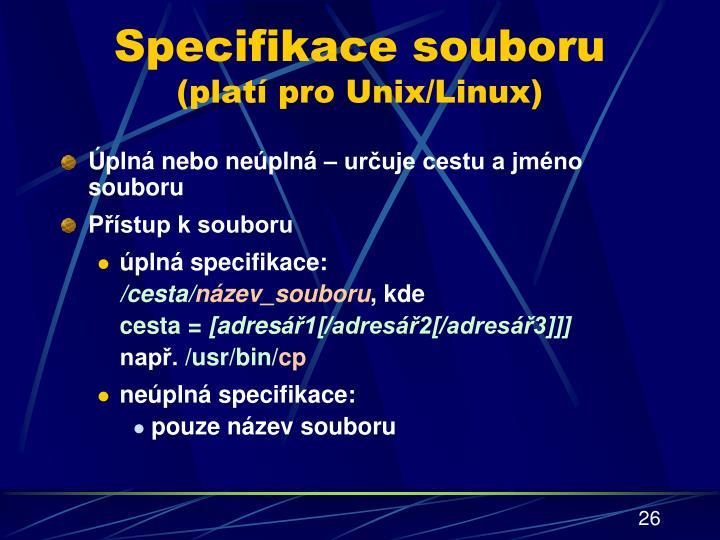 Specifikace souboru