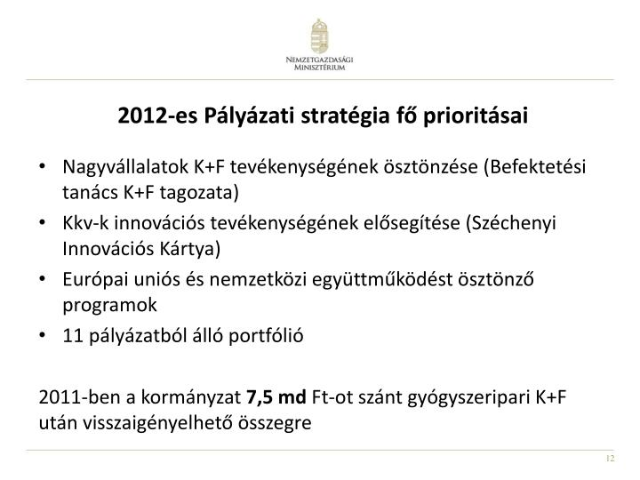 2012-es Pályázati stratégia fő prioritásai