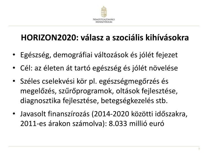 HORIZON2020: válasz a szociális kihívásokra
