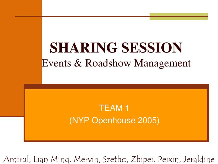 Sharing session events roadshow management