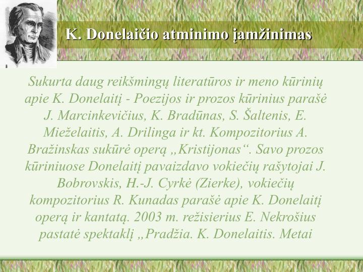 K. Donelaičio atminimo įamžinimas
