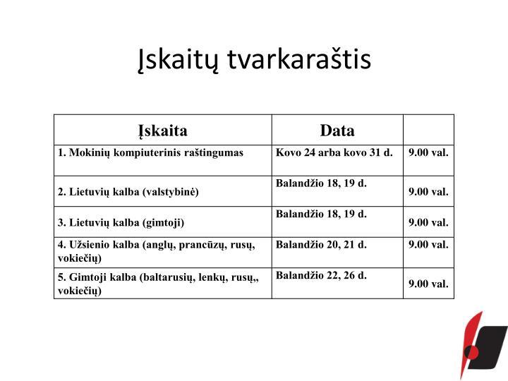 Įskaitų tvarkaraštis