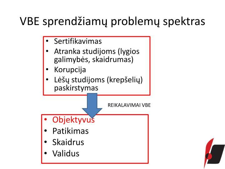 VBE sprendžiamų problemų spektras