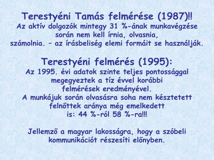 Terestyéni Tamás felmérése (1987)!!