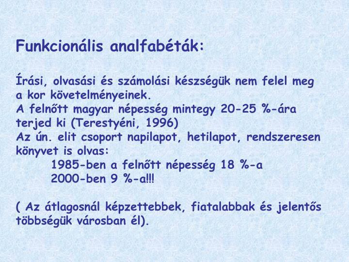 Funkcionális analfabéták: