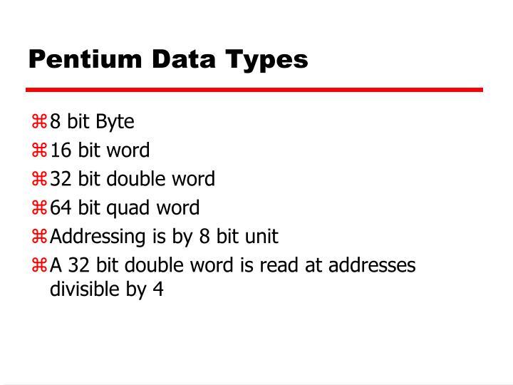Pentium Data Types