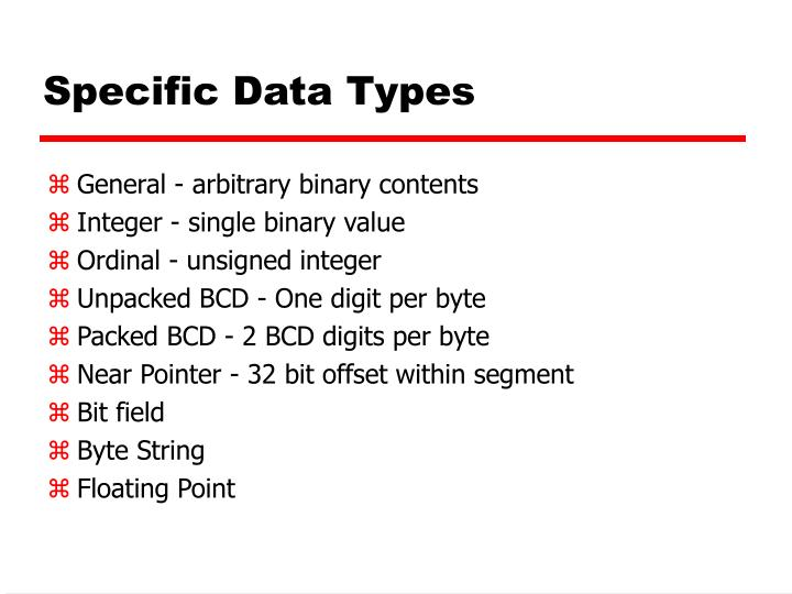 Specific Data Types