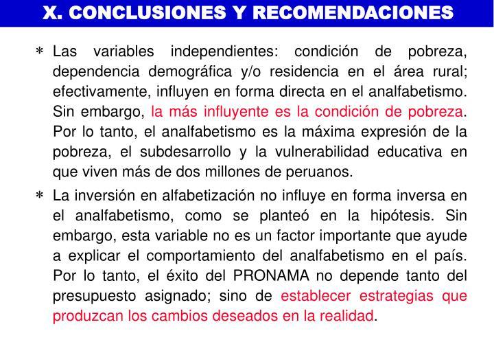 X. CONCLUSIONES Y RECOMENDACIONES