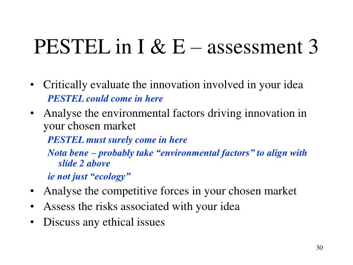 PESTEL in I & E – assessment 3
