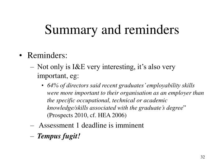 Summary and reminders