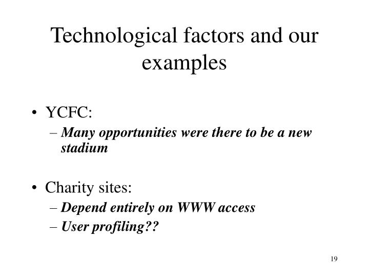 Technological factors and our examples