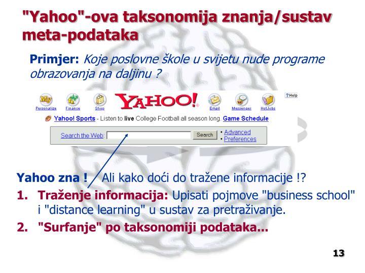 """""""Yahoo""""-ova taksonomija znanja/sustav meta-podataka"""