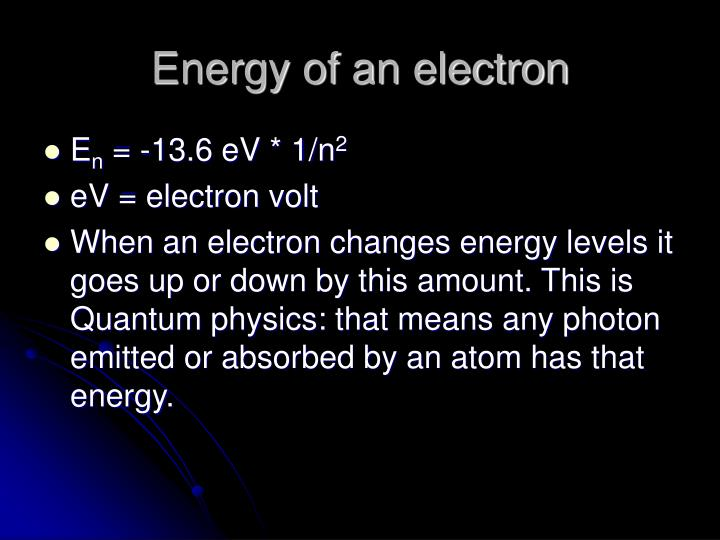 Energy of an electron