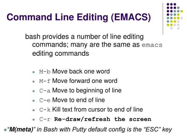 Command Line Editing (EMACS)
