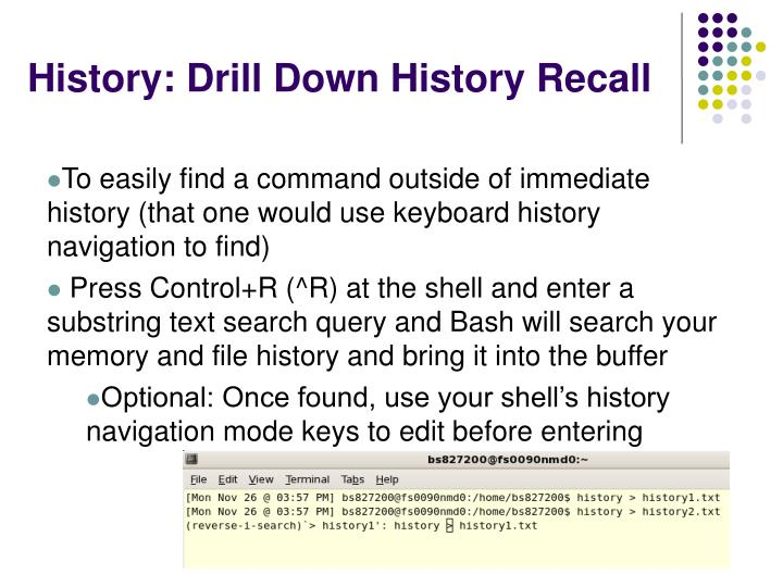 History: Drill Down History Recall