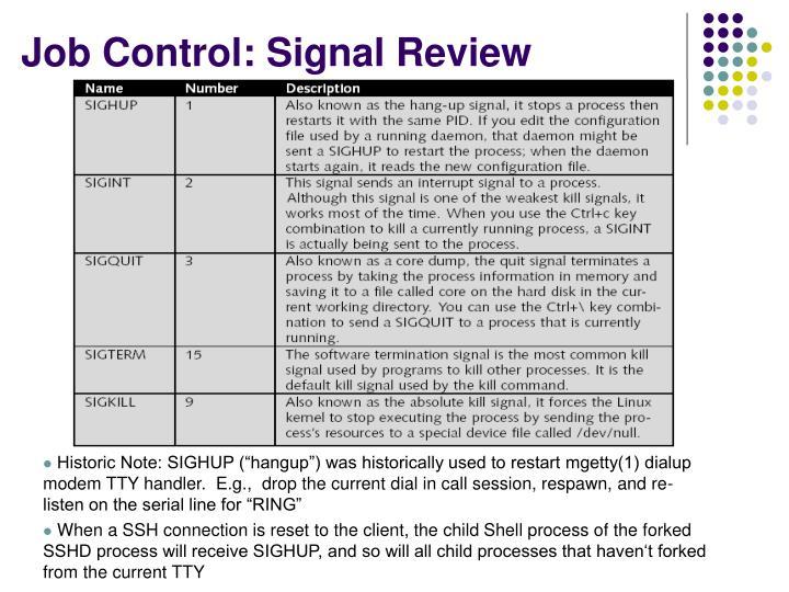Job Control: Signal Review