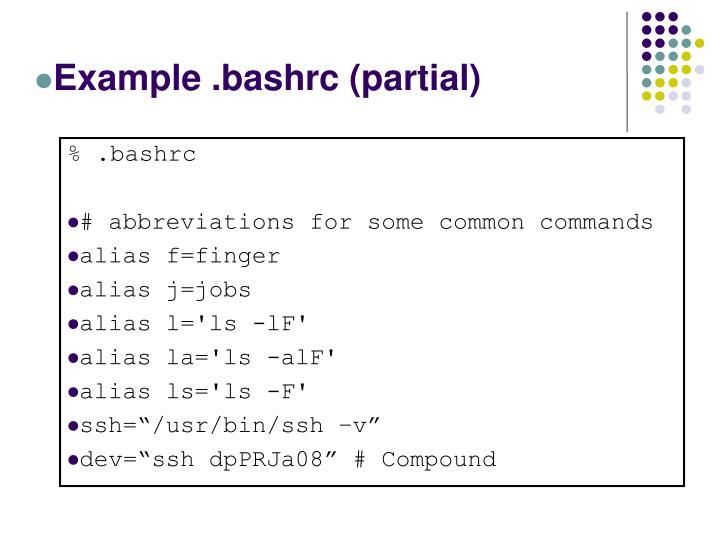 Example .bashrc (partial)