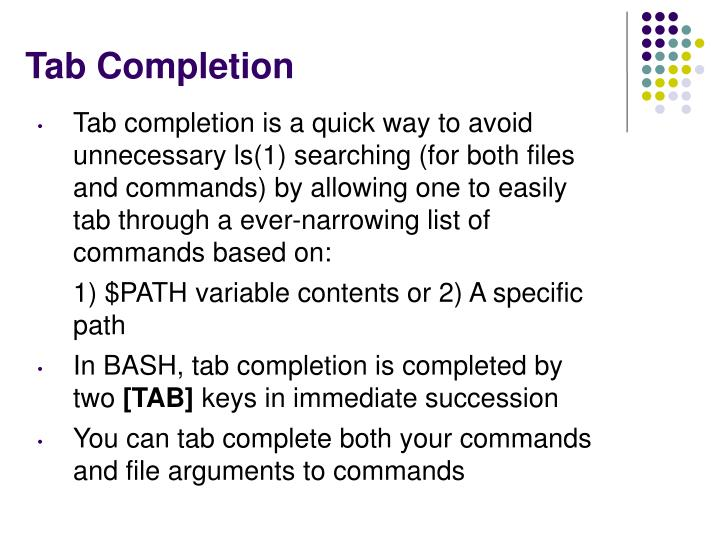 Tab Completion