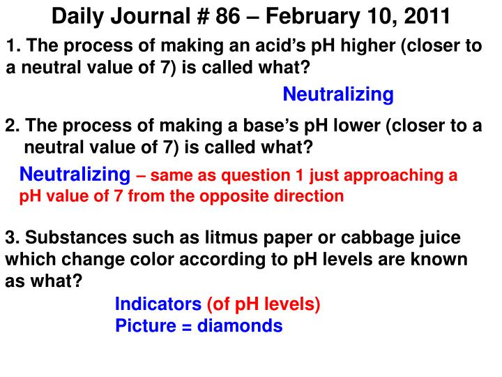 Daily Journal # 86 – February 10, 2011