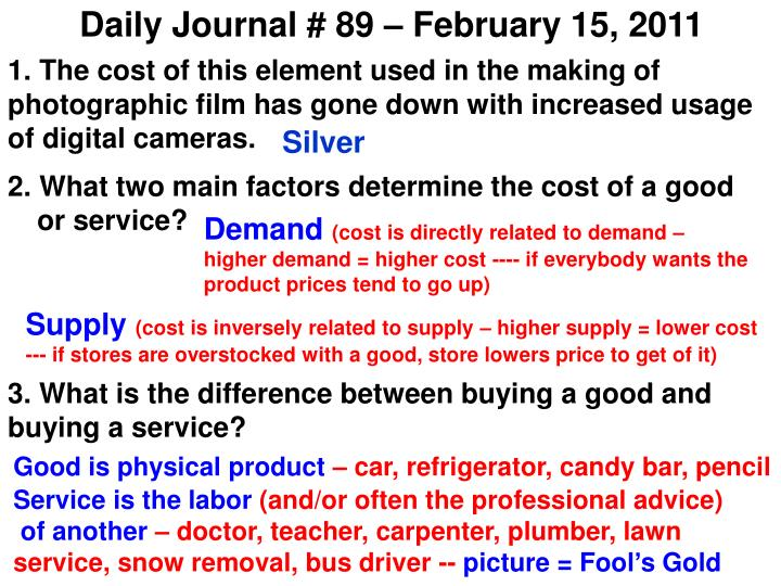 Daily Journal # 89 – February 15, 2011