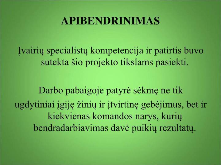 APIBENDRINIMAS