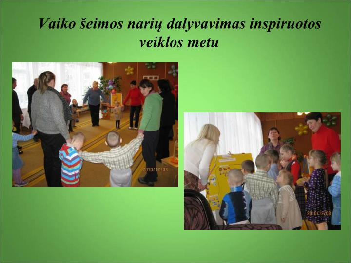 Vaiko šeimos narių dalyvavimas inspiruotos veiklos metu