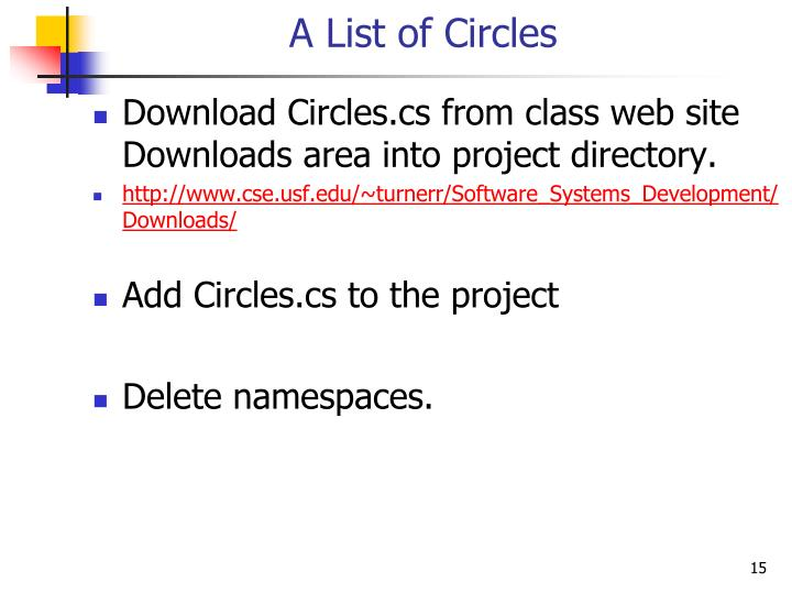 A List of Circles