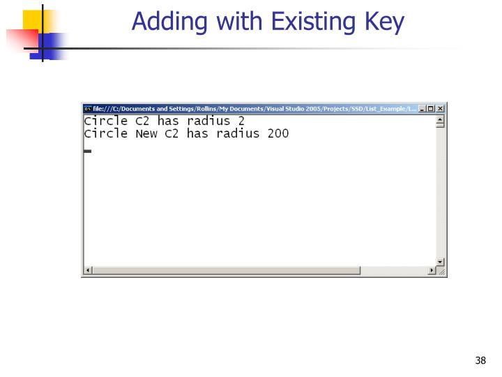 Adding with Existing Key