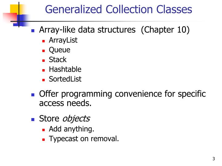 Generalized collection classes